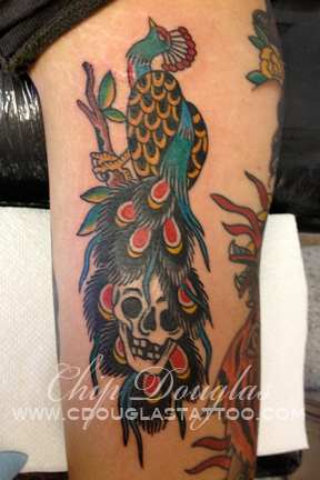 June 2013 chip douglas for Traditional peacock tattoo
